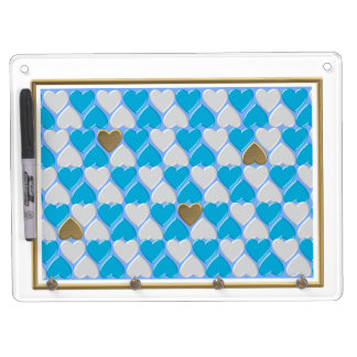 Blauw, wit Beiers patroon Whiteboard Met Sleutelhanger