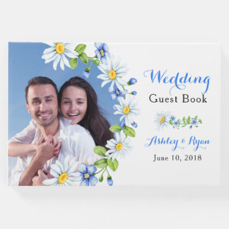Blauw Wit Land Daisy Floral Wedding Guest Book