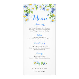 Blauw Wit Land Daisy Floral Wedding Menu