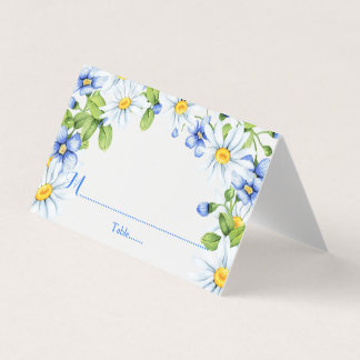 Blauw Wit Land Daisy Floral Wedding Plaatskaart