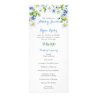 Blauw Wit Land Daisy Floral Wedding Program Reclamekaart