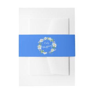 Blauw Wit Land Daisy Floral Wedding Uitnodigingen Wikkel