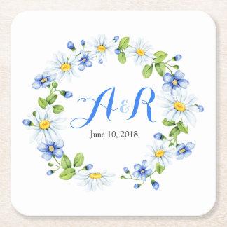 Blauw Wit Monogram Daisy Floral Wedding Vierkante Onderzetter