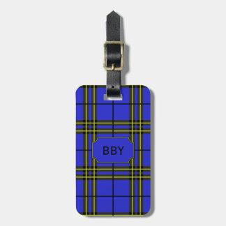 Blauw Zwart Geel Geruite Schotse wollen stof Bagagelabel