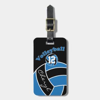 Blauw, Zwart-wit Sportief Volleyball Bagagelabel