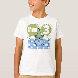 Blauwe 3de Verjaardag Hippo T Shirt