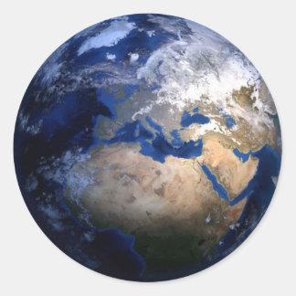 Blauwe Aarde van de Ruimte Inspirerend Wereld van Ronde Sticker