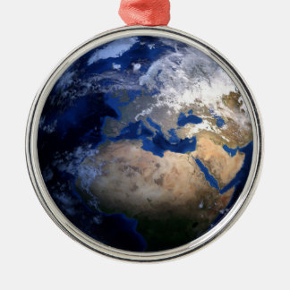 Blauwe Aarde van de Ruimte Inspirerend Wereld van Zilverkleurig Rond Ornament