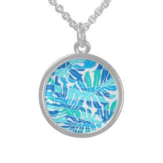 Blauwe abstracte branding sterling zilver ketting