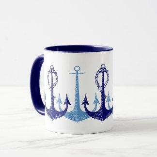 Blauwe ankerswijnoogst zeevaart mok
