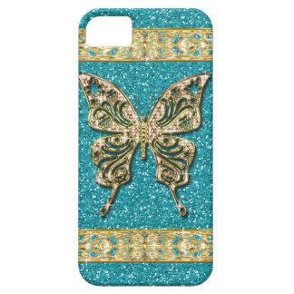 Blauwe Aqua schittert Gouden Vlinder Barely There iPhone 5 Hoesje