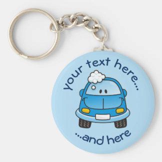 Blauwe auto met bellen sleutelhanger