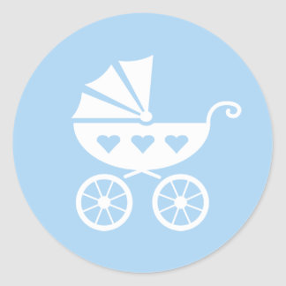 Blauwe baby showerstickers met leuke wandelwagen ronde stickers