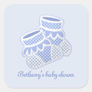 blauwe babysokken vierkante sticker