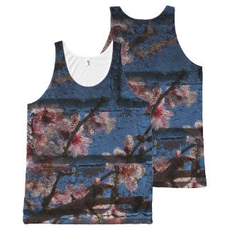 Blauwe baksteen en roze bloesem unisex-mouwloos All-Over-Print tank top