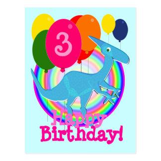 Blauwe Ballons 3 van de Verjaardag van de Dinosaur Wens Kaart