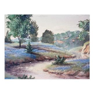 Blauwe Blauwe bloemen in gebiedsbloemen Briefkaart