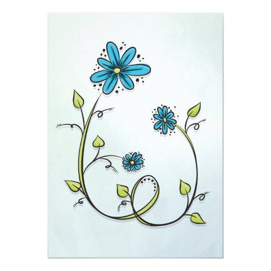 Blauwe bloemen illustratie kaart
