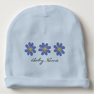 Blauwe Bloemen met de Naam van het Baby van de Baby Mutsje
