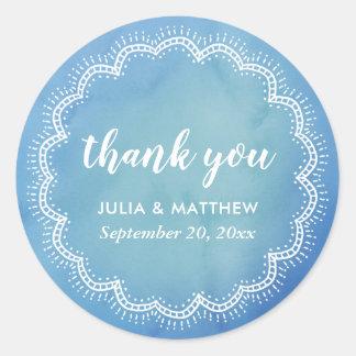 Blauwe Boheemse Elegant van de Waterverf dankt u Ronde Sticker
