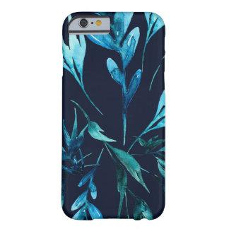 Blauwe Botanische Elegante Elegante Bloemen van de Barely There iPhone 6 Hoesje