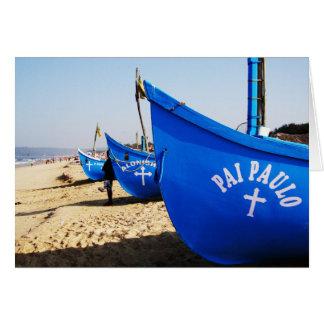 Blauwe Boten op Candolim Strand Goa India Wenskaart