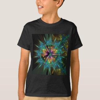 Blauwe Caleidoscopische Zonnestraal T Shirt