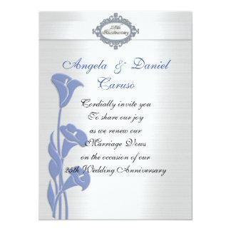 blauwe calla van de 25ste verjaardagsUitnodiging Kaart