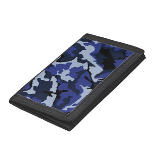 Blauwe Camo, Nylon Portefeuille TriFold
