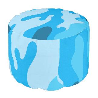 Blauwe camouflagepoef voor de voetrust van het rond zitkussen