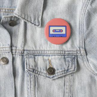 Blauwe Cassette Ronde Button 5,7 Cm