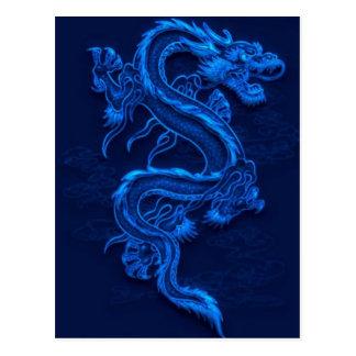 Blauwe Chinese Draak Briefkaart