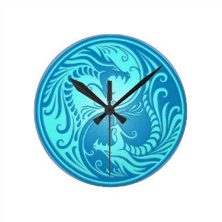Blauwe Chinese Draken yin-Yang Ronde Klok