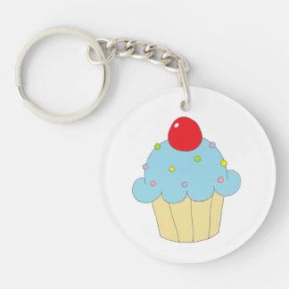 Blauwe Cupcake Sleutelhanger