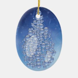 blauwe daling keramisch ovaal ornament