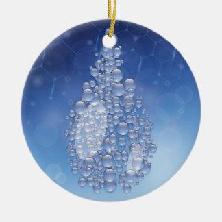 blauwe daling rond keramisch ornament
