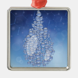 blauwe daling zilverkleurig vierkant ornament