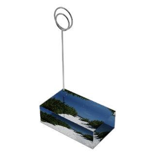 Blauwe de kaarthouder van het Zand van de Hemel ~ Plaatskaart Houder