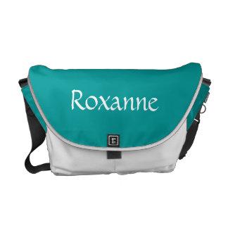 Blauwe de kunstschaatsen & het Wit voegen Naam toe Courier Bags