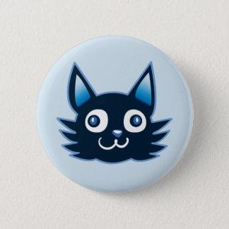 blauwe de stijlillustratie van de katten ronde button 5,7 cm