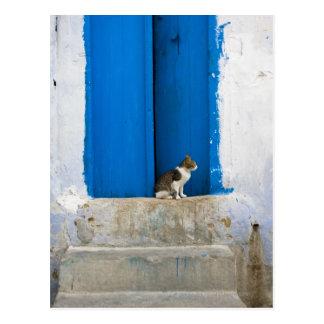 Blauwe deur, Kairouan, Tunesië, Afrika Briefkaart