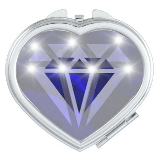Blauwe diamant compacte spiegel reisspiegeltje