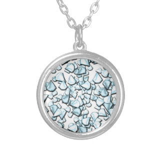 Blauwe diamanten zilver vergulden ketting