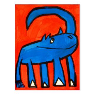 Blauwe Dinosaurus Briefkaart