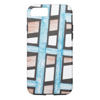 Blauwe en Bruine iPhone 7 van Blokken hoesje