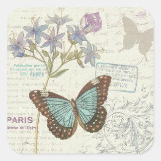 Blauwe en Bruine Vlinder Vierkante Sticker