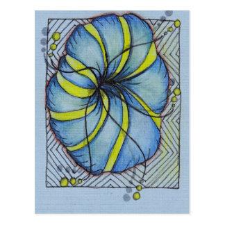 Blauwe en Gele Bloesem Zentangle Wens Kaart