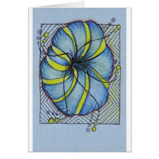 Blauwe en Gele Bloesem Zentangle Wenskaarten
