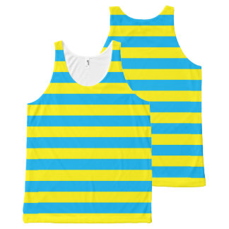 Blauwe en Gele Horizontale Strepen All-Over-Print Tank Top