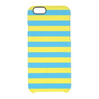 Blauwe en Gele Horizontale Strepen Doorzichtig iPhone 6/6S Hoesje